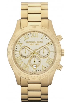 Michael Kors Men's Chronograph Layton Gold-Tone Stainless Steel Bracelet Watch 45mm