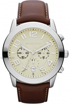 MICHAEL KORS Men ́s Leather Strap Watch 45mm