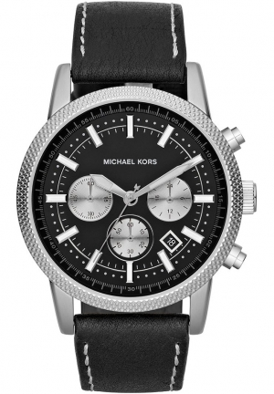 MICHAEL KORS Men's Chronograph Watch in Black Leather, 43mm