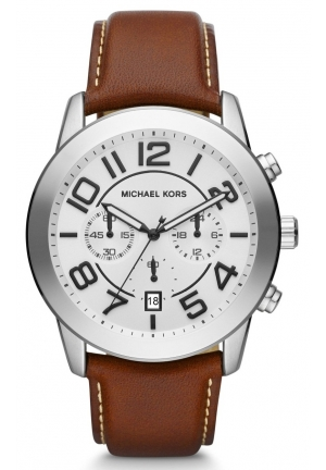 Michael Kors Chronograph Mercer Brown Leather Watch 45mm