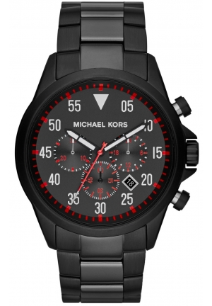 Michael Kors Men's Chronograph Gage Black-Tone Stainless Steel Bracelet Watch 45mm