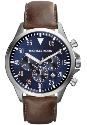 Chronograph Gage Brown Leather Strap Watch 45mm