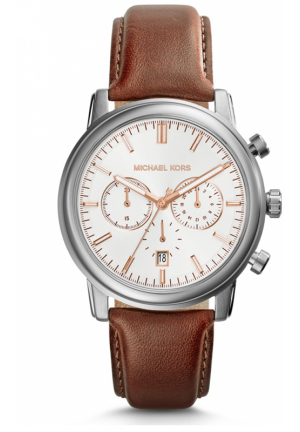 LANDAULET CHRONOGRAPH WHITE DIAL BROWN LEATHER MEN'S WATCH 43MM