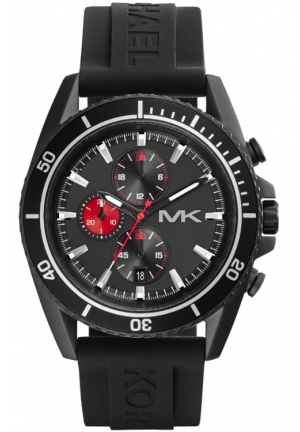 Michael Kors Oversize Black Silicone Jetmaster Chronograph Watch