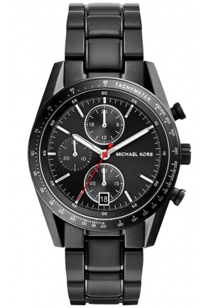 MICHAEL KORS Men's Chronograph Accelerator Black Ion-Plated Stainless Steel Bracelet Watch 38mm