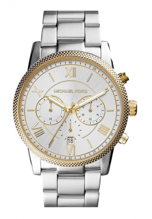 MICHAEL KORS Hawthorne Chronograph Silver Dial Stainless Steel Mens Watch 42mm