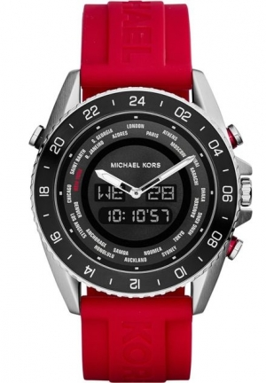 Michael Kors Jetmaster Dual Time Black Dial Red Silicone Strap Mens Watch