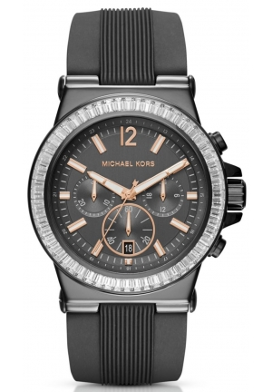MICHAEL KORS Dylan Pavé Gunmetal Silicone Watch 43mm