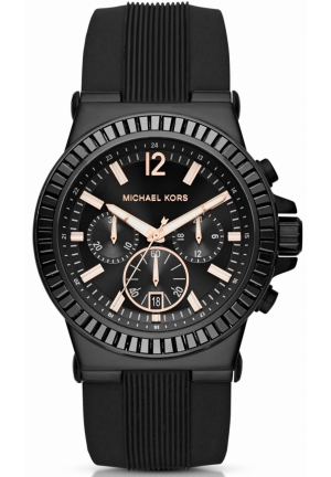 MICHAEL KORS Dylan Pavé Black Silicone Watch 43mm