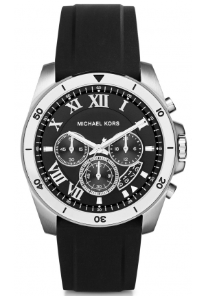 MICHAEL KORS  Brecken Silver-Tone And Silicone Watch 44mm