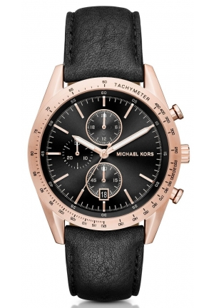 MICHAEL KORS  Accelerator Rose Gold-Tone And Leather Watch