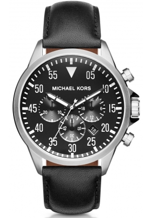 MICHAEL KORS Gage Silver-Tone And Leather Watch 45mm