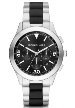 MICHAEL KORS  Gareth Silver-Tone And Silicone Watch 43mm