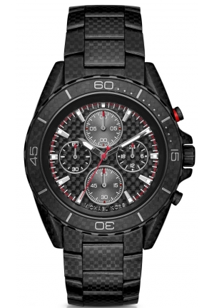 MICHAEL KORS  JetMaster Black-Tone Carbon Fiber Watch 45mm