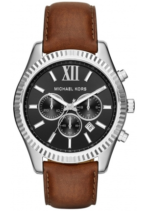 MICHAEL KORS Lexington Silver-Tone and Leather Watch 44mm