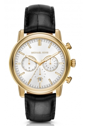 MICHAEL KORS Pennant Gold-Tone and Leather Watch 43mm