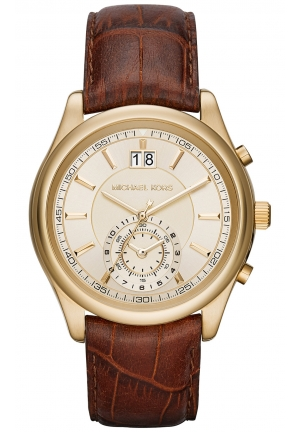 MICHAEL KORS Aiden Gold-Tone and Leather Watch 43mm