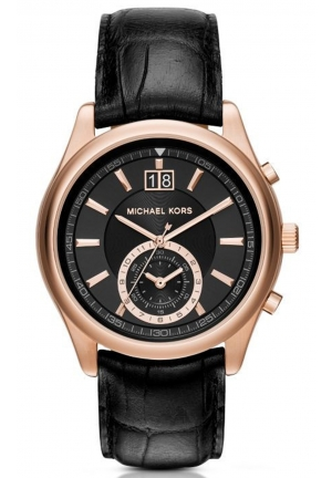 MICHAEL KORS Aiden Rose Gold-Tone and Leather Watch 43mm