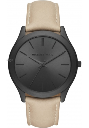 MICHAEL KORS  Slim Runway Black-Tone And Leather Watch