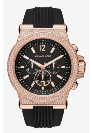 Michael Kors Dylan Black Dial Ladies Chronograph Crystal Watch