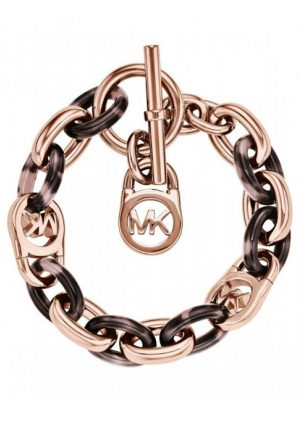 ROSE GOLD-TONE AND ACETATE CHAIN-LINK BRACELET,