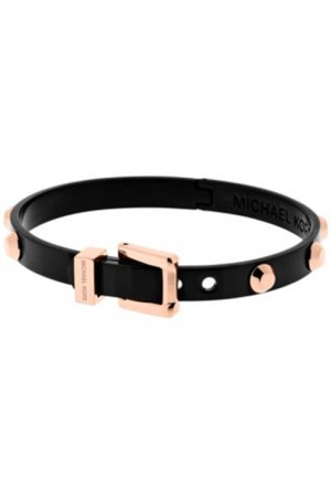 ASTOR ROSE GOLD-TONE AND BLACK-TONE BUCKLE BANGLE,
