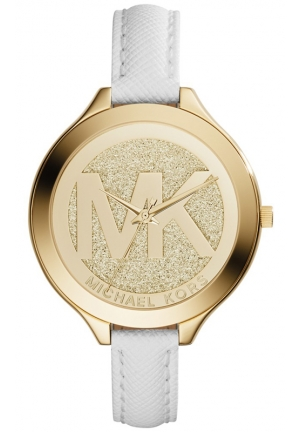 MICHAEL KORS Women's Slim Runway White Saffiano Leather Strap Watch 42mm