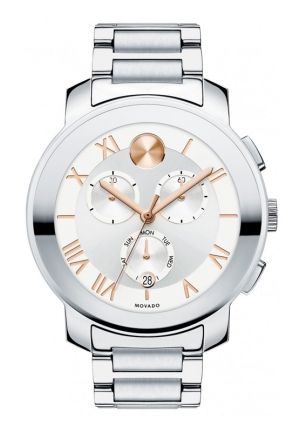 MOVADO Bold Chronograph Silver Dial Stainless Steel Unisex Watch , 40mm