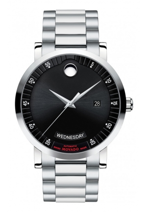 MOVADO Red Label Automatic Black Dial Stainless Steel Men's Watch 42mm