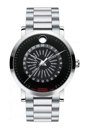 MOVADO Red Label Stainless Steel Case and Bracelet Black Dial Watch 42mm