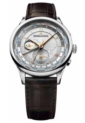 MAURICE LACROIX Masterpiece Tradition Worldtimer Silver Dial Brown Leather Men's Watch 42mm