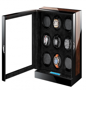 M&Q- Wooden 9+0 Automatic Watch Winder Storage Box with LCD Touch Screen , black