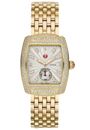 MICHELE Urban Mini Silver and White Diamond Dial Gold-Plated Stainless Steel Bracelet Ladies Watch MWW02A000565 29x35mm