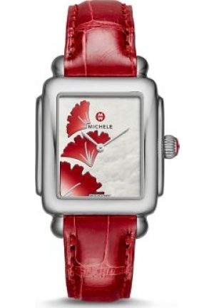 MICHELE GINKGO DIAL GARNET ALLIGATOR WATCH
