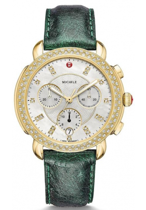 Michele Sidney Diamond Gold Mother of Pearl Dial Green Ostrich Women's Watch MWW30A000013