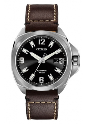 "Citizen Men's ""Grand Touring Signature"" Automatic Watch With Brown Leather Band"