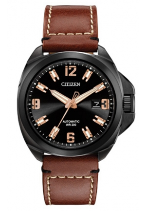 "Citizen Men's ""Signature Grand Touring"" Stainless Steel Automatic Watch with Leather Band"