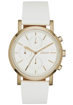 DKNY Chronograph Soho White Leather Strap Watch 38mm