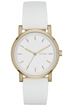 DKNY Soho White Leather Watch 34mm