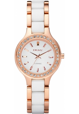 DKNY Broadway Women's White Ceramic and Rose Gold Ion Plated Stainless Steel Bracelet 30mm
