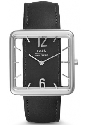 FOSSIL X OPENING CEREMONY TWO-HAND BLACK LEATHER WATCH