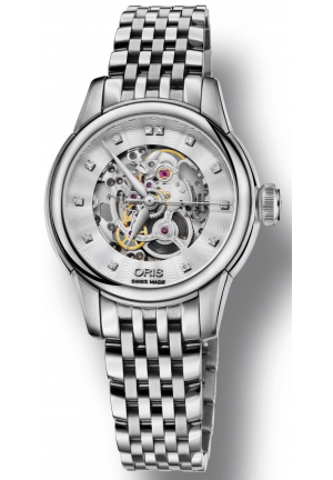 ORIS Artelier Silver Skeleton Dial Stainless Steel Ladies Watch 01 560 7687 4019-07 8 14 77