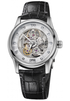ORIS Artelier Skeleton Dial Black Leather Diamond Men's Watch 01 734 7670 4019-07 5 21 70FC