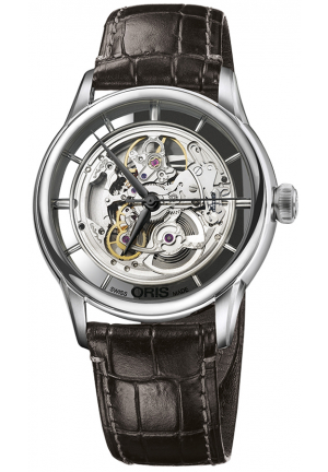 Oris Artelier Skeleton Dial Brown Leather Men's Watch 01 734 7684 4051-07 5 21 70FC