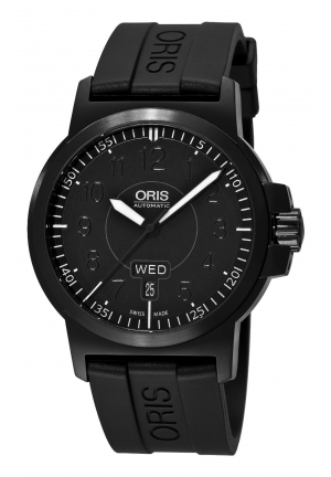 ORIS Oris Men's Sportsman Day Date Black DLC Case and Rubber Strap Watch 42mm