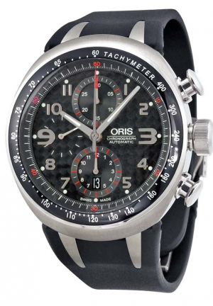 Oris TT3 Chronograph Black Carbon Dial Black Rubber Men's Automatic Watch 01 674 7587 7264 07 4 28 02T