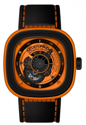 SEVENFRIDAY Industrial Essence Orange Dial Automatic Men's Watch P1-3, p1/03