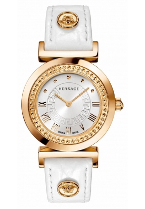 "VERSACE ""Vanity"" Rose Gold Ion-Plated Watch with Leather Band 35mm"