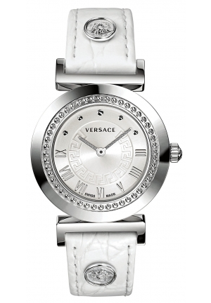VERSACE Swiss Vanity White Croco Calfskin Leather Strap 35mm