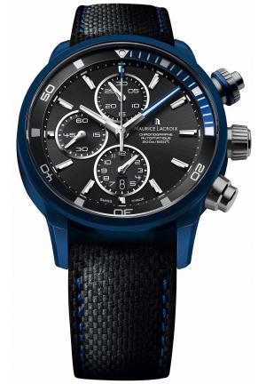 MAURICE LACROIX Pontos S Extreme Black Dial Leather Men's Watch 43mm